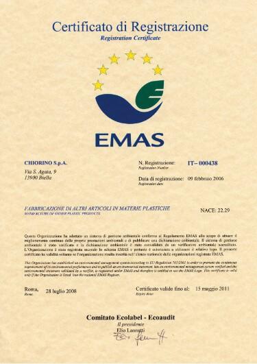 certyfikat EMAS CHIORINO producent taśm transportowych