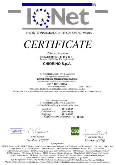 Certyfikat ISO 14001:2004 - CHIORINO producent taśm przenośnikowych