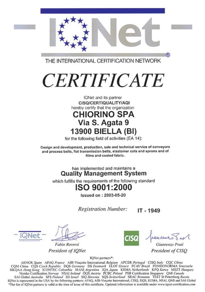 Certyfikat ISO 9001:2000 CHIORINO producent taśm transportowych