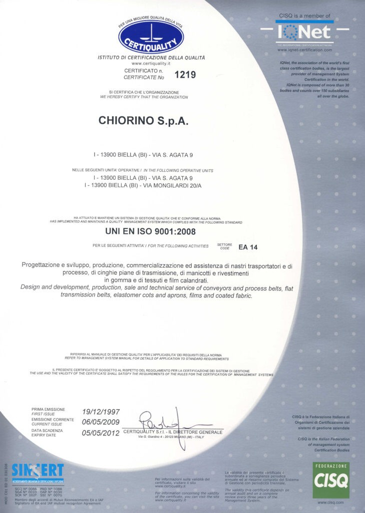 Certyfikat UNI EN ISO 9001:2008 CHIORINO producent pasów napędowych