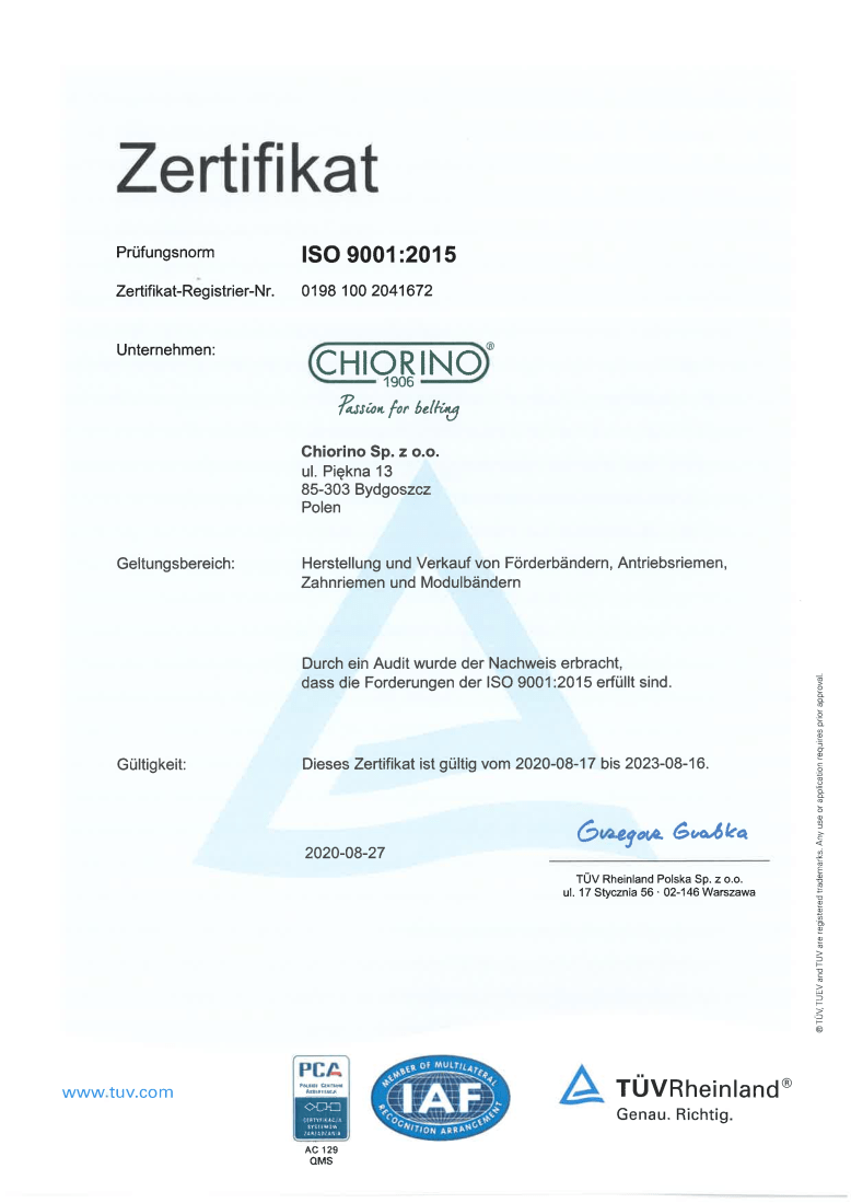 producent Chiorino Certyfikat ISO 9001:2015
