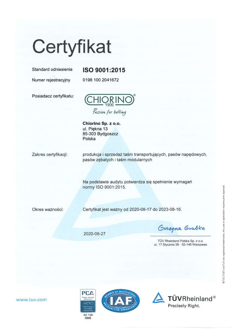 pasy transportowe producent Chiorino Certyfikat ISO 9001:2015