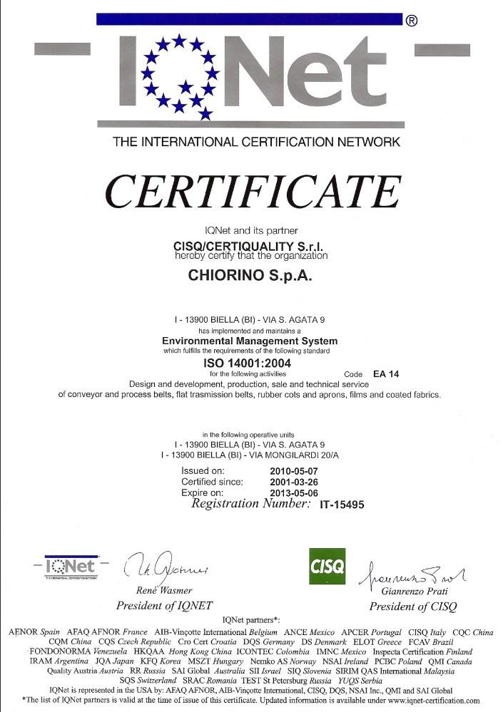 Certyfikat ISO 14001:2004 CHIORINO producent pasów transportowych